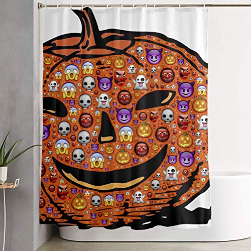 Cute Halloween Ghost Expression Pumpkin Jack O Lantern Bathroom Shower Curtain Decorative Toilet Celebrate Ornament Picks Set Prints Themed All Supplies Accessories Sale Indoor Home Room ()