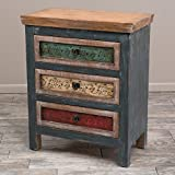 Christopher Knight Home 295727 3 Drawer Cabinet, Antique Dark Green