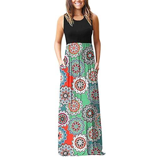 (Vintage Dress Women's Sleeveless Floral Print Beach Long Maxi Loose Plain Casual Cami T Shirt Dresses with Pocket)