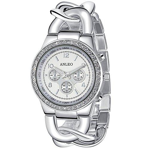 ANLEOWATCH 1PCS Quartz Watches Ladies Watch Steel Women Dress Rhinestone Wristwatches 5498-SILVER