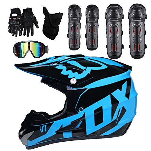Moto Helmets Adult Outdoor Man Woman Full Face Motocross Off-Road Motorcycle Road Race ATV Helmet 5 Free Safety Suit Include Windproof Glasses Face Mask Elbow Pads Gloves Kneepad,M ()