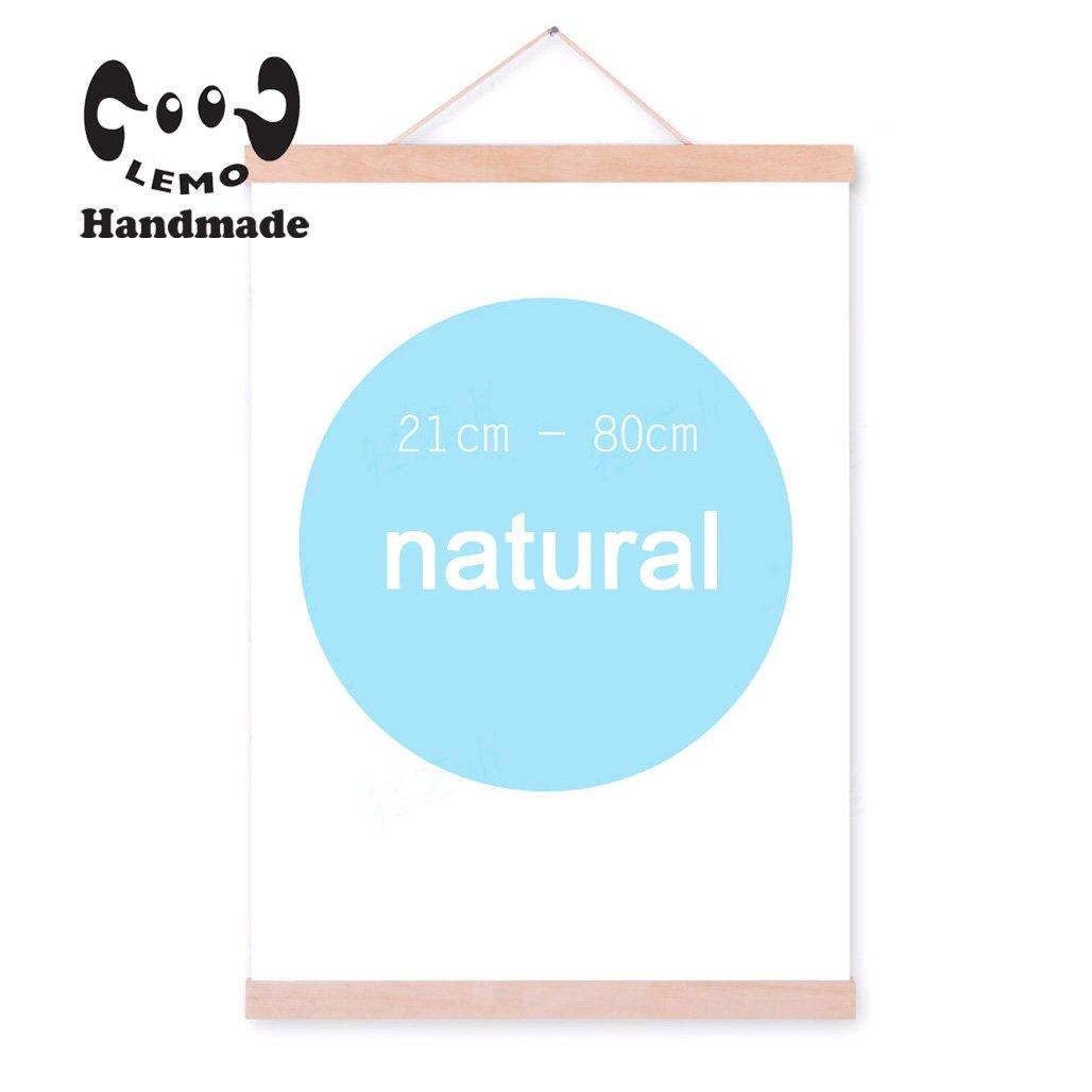 MS 12 Natural Wood Magnetic Frame Poster Print Artwork Canvas Hanging Quilt Clip Hanger (Natural color)