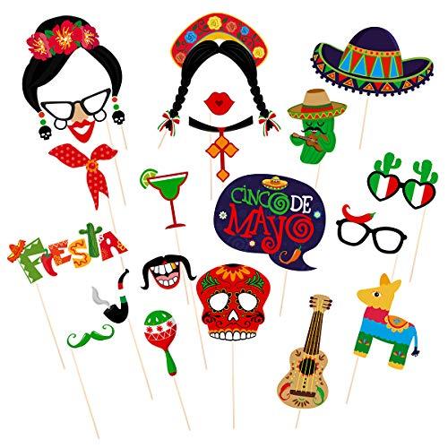 Amosfun Fiesta Party Supplies Fiesta Photo Props Mexican Fiesta Photo Booth Props Cinco de Mayo Fiesta Photo Booth Props Mexican Party Supplies -