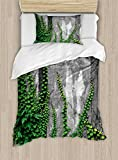 Ambesonne Mystic Duvet Cover Set Twin Size, Ivy Plant on Wall Aged Antique Looking Picture Frame as a Window Creative Art, Decorative 2 Piece Bedding Set with 1 Pillow Sham, Green and Grey