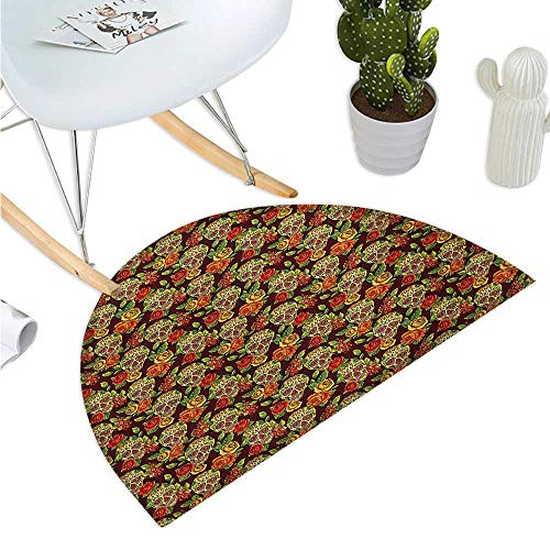 (Sugar Skull Semicircular Cushion Autumn Colored Flowers and Leaves Patterns in Smily Head Bones Entry Door Mat H 35.4