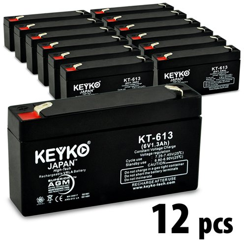 WKA6-1.3F PS612 6V 1.2Ah / REAL 1.3Ah SLA Sealed Lead Acid AGM Rechargeable Replacement Battery Genuine KEYKO F1 12-Pack by KEYKO