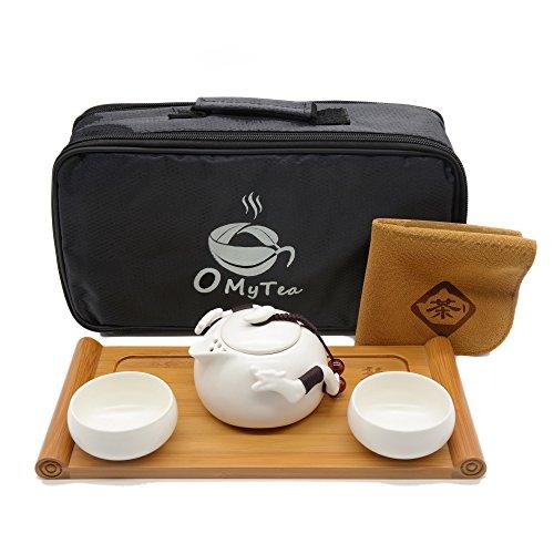 "OMyTea® ""Double Dragons"" Portable Travel Tea Set with a Portable Travel Bag - 100% Handmade Chinese / Japanese Vintage Kung Fu Gongfu Tea Set - Porcelain Teapot & Teacups & Bamboo Tea Tray (White)"