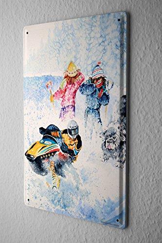 Tin Sign World Tour Snowmobile dog Metal Plate - Shop Germany Mobile