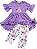 BluNight Collection Girls 2 Pieces Pant Set Unicorn Floral Summer Easter Dress Outfit Clothing Set Purple 4 M (501295)