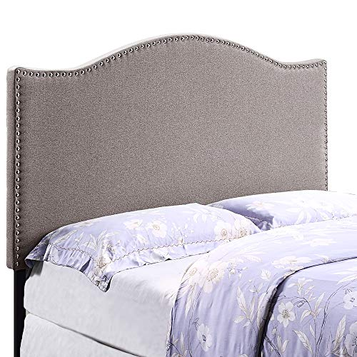 Curved Headboard Bed - HOME BI Upholstered Curved Shape Linen Fabric Headboard Full/Queen Size with Nailhead Trim (Light Grey)