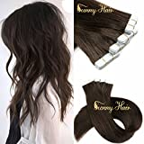 Sunny 22inch Tape in Extensions Human Hair 10pcs 25G #2 Dark Brown Remy Hair Extensions Real Human Hair