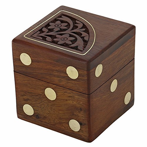 Dice Gift - Handmade Indian Dice Game Set with Decorative Storage Box - Includes 5 Wooden Dice - Unique Gifts for Adults by ShalinIndia