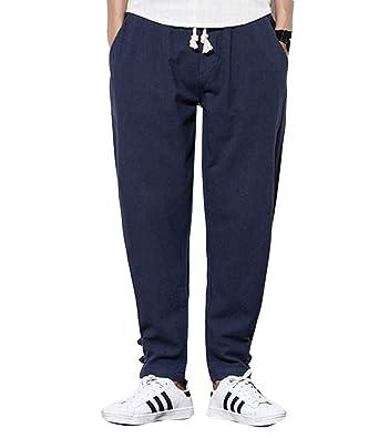 Pantalones de Chándal de Lino para Hombre Sueltos Color Sólido ...
