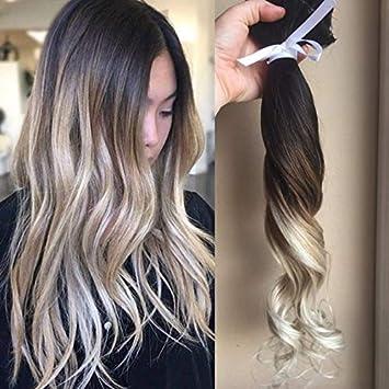 Amazon Com Clip In Highlight Hair Extension Ombre Dark Brown