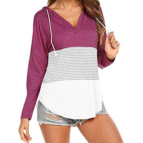 Tunic,Toimoth Women Daily Casual Long Sleeve Striped Patchwork Stretchy Tops Blouse T-Shirt (XXL, Purple)