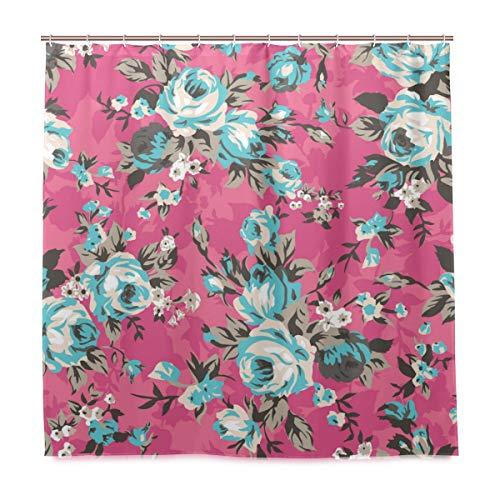 VAMIX Decoration Shower Curtain Shower Shabby Chic Granny Vintage Chintz Roses Bath Curtains Waterproof Fabric Bathroom Decor Set with Hooks ()