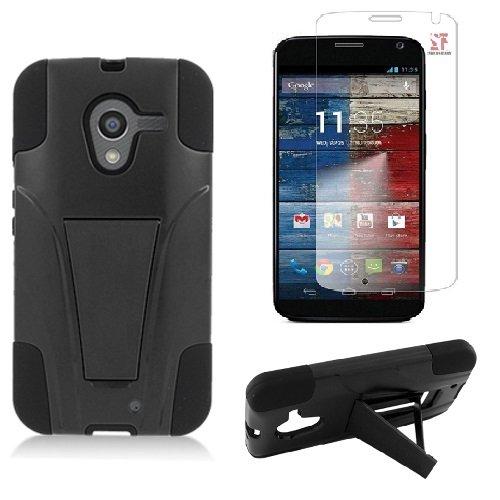 [SlickGears™] Black Heavy Duty Impact Armor Dual Layer Kickstand Case for Motorola Moto X XT1056 XT1060 XT1053 (2013 4.7