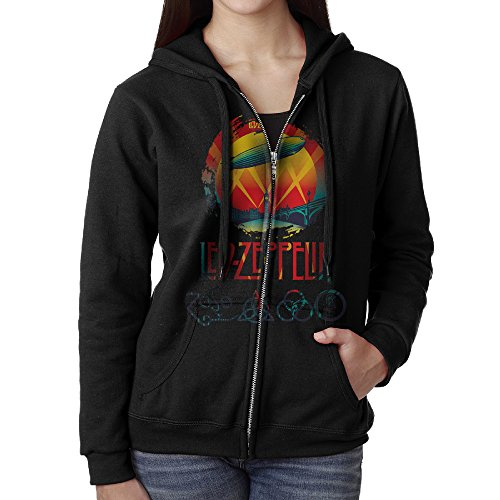 Wholesale Zip Up Hoodies (KOBT Women's Led Zeppelin Celebration Day Zip-Up Hooded Sweatshirt Jackets Black Size M)