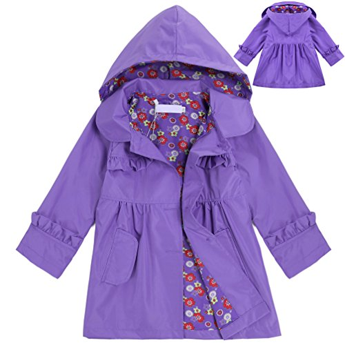 CNlinkco Girls' Raincoat, Cute Long Sleeve Flower Waterproof Hooded Jacket Outerwear (Purple, 100 (Age For 2-3Y)) (Child Ages And Stages Of Development Charts)
