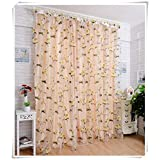 Inelastic Light transmittance Shades-curtains Burnt-out yarn organdy Tulle Curtains Window screening,1 panel , beige , 140*240cm