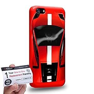 Case88 [Apple iPhone 5C] 3D impresa Carcasa/Funda dura para & Tarjeta de garantía - Art Design Red Sport Car