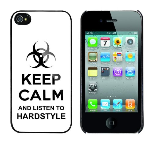 Iphone 4 Case Keep Calm and listen to hardstyle Rahmen schwarz