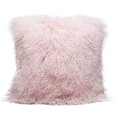 Pillow Throw Ultimate - Smart Origin 100% Real Mongolian Lamb Fur Curly Wool Throw Pillow Cushion Decorative Pillow for Living Room Bedroom Car,Pillow Insert Included,18x18in,Light Pink