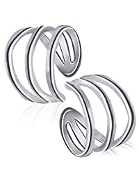 Sterling Silver Fake Cuff Earrings Clip on Non pierced Ear Hoops Unisex Cartilage Earrings