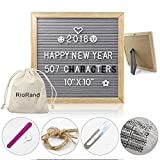 Letter Board Wooden DIY Changeable Message Board 10'' x 10'' Decorative with Felt Grey