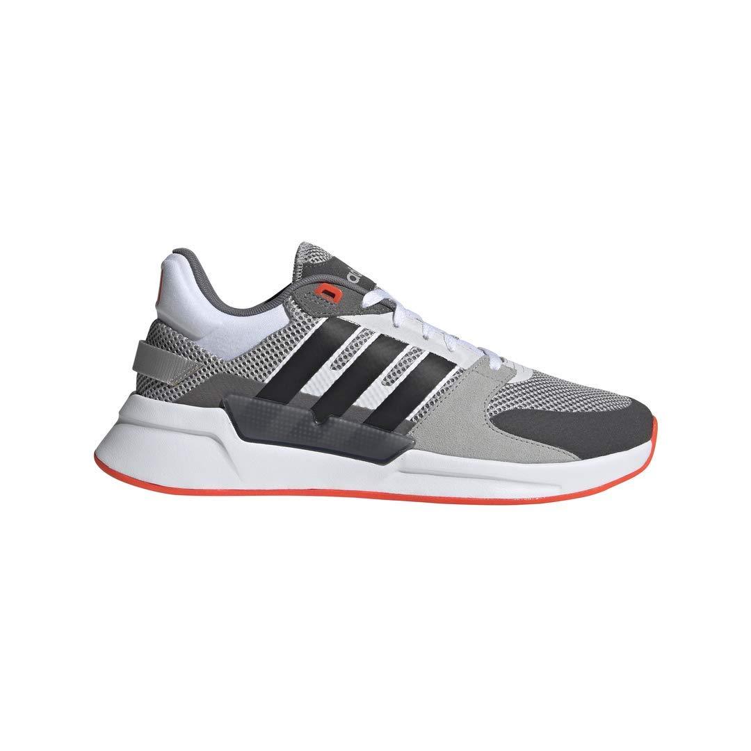 adidas Men's Run90s Running Shoe, Grey/Black/Solar Red, 9.5 M US