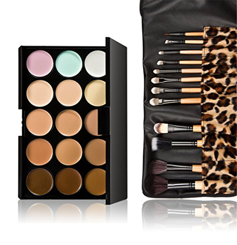 - Pure Vie Pro 12 Pcs Make Up Brushes + 15 Colors Cream Concealer Camouflage Makeup Palette Contouring Kit for Salon and Daily Use