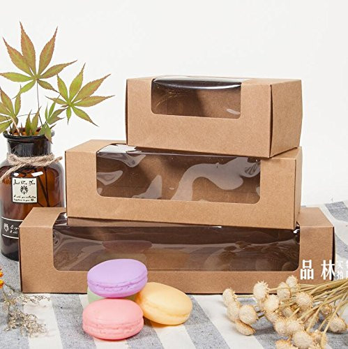 Saasiiyo Clear Window Cookies Paper Boxes 270x70x60mm 20pcs/lot Candy Macaron Packaging Kraft Storage Boxes for Bakery