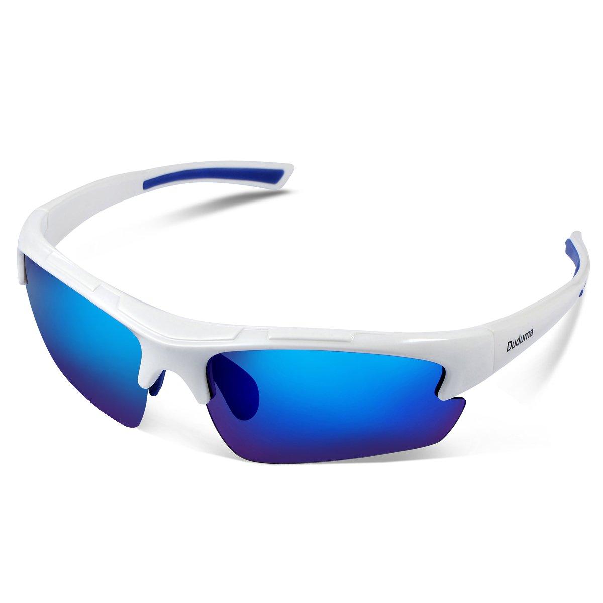 Duduma Polarized Designer Fashion Sports Sunglasses for Baseball Cycling Fishing Golf Tr62 Superlight Frame (White/Blue) by Duduma