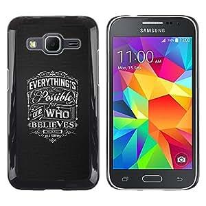 Creer Posible Dios Amor Christian Grey- Metal de aluminio y de plástico duro Caja del teléfono - Negro - Samsung Galaxy Core Prime
