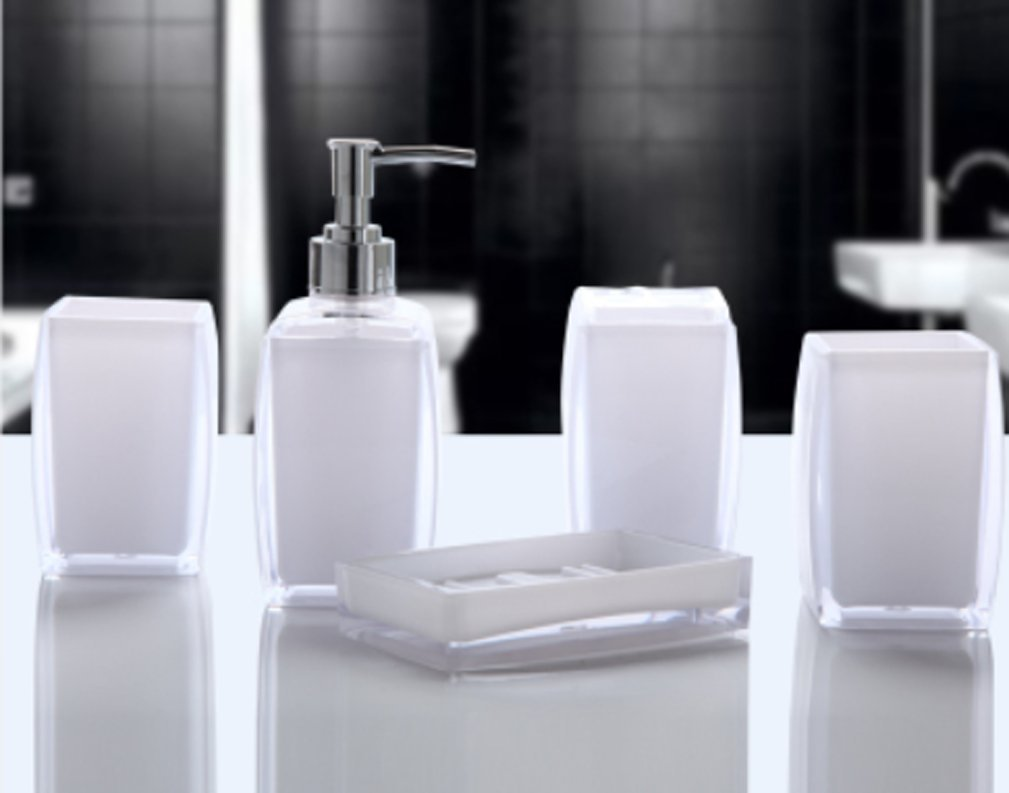 Yiyida Bathroom Accessories Set of 5 Acrylic Bath Collection Lotion Dispenser/Toothbrush holder/Tumbler/Soap dish ,White