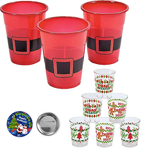 Fun Christmas and Holiday Drinking Party Pack With 50 Reusable Plastic Santa Cups and 24 Ugly Sweater Plastic Shot Glasses Perfect For Large Holiday Home or Office Parties (Shots Best Christmas)