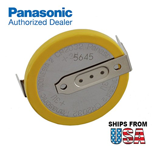 Panasonic CR-2032/HF1N 3V Lithium Coin Battery Horz 2 PC Pins For PC CMOS IBM 02K7063 ASM 02K7062 CR2032-3P IBM ThinkPad Compaq Presario V6100 HP Pavilion DV6000 Series Gateway Solo 5300 -