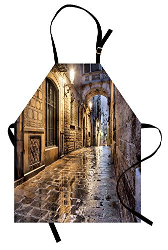 Lunarable City Apron, Narrow Street Gothic Design Architecture Carrer del Bisbe Barcelona Spain Europe, Unisex Kitchen Bib Apron with Adjustable Neck for Cooking Baking Gardening, Tan Pale Brown by Lunarable