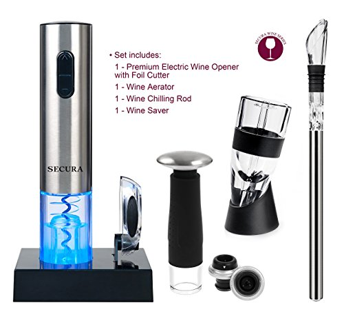 Secura Elite Wine Lovers Gift Set | 12-Piece Wine Accessories Set | Electric Wine Opener, Wine Foil Cutter, Wine Aerator, Wine Saver Vacuum Pump + 2 Wine Stoppers by Secura (Image #2)