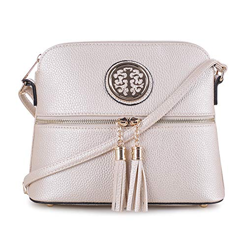 SG SUGU Lightweight Medium Dome Crossbody Bag with Tassel and Metallic for Women   Zipper Pocket   Adjustable Strap   CHAMPAGNE