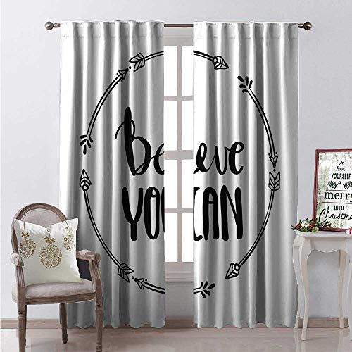 Hengshu Quote Room Darkening Wide Curtains Monochrome Style Believe You Can Quote in Arrow Frame Inspirational Composition Waterproof Window Curtain W84 x L96 Black and -