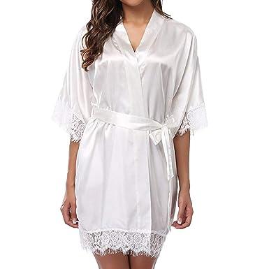 caractéristiques exceptionnelles le plus en vogue vente en ligne Dihope, Peignoir Satin Robe de Chambre Kimono Femme Sortie ...