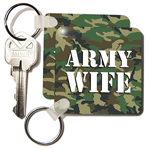 3d Rose 3dRose Army Wife Green Camouflage - Key Chains, 2...