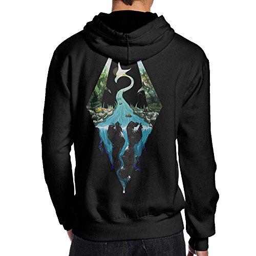 Mens The Elder Scrolls V Skyrim Logo Back Printed Vintage Pullover Sweatshirts 80's