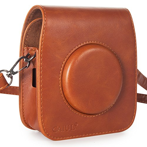 CAIUL Compatible Vintage PU Leather Square Case Bag for Fujifilm Instax Square SQ10 Instant Camera (Brown)