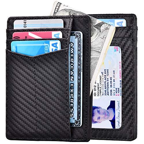 Slim Wallet RFID Front Pocket Wallet Minimalist Secure Thin Credit Card Holder (B Carbon Fiber Black (Magnets))