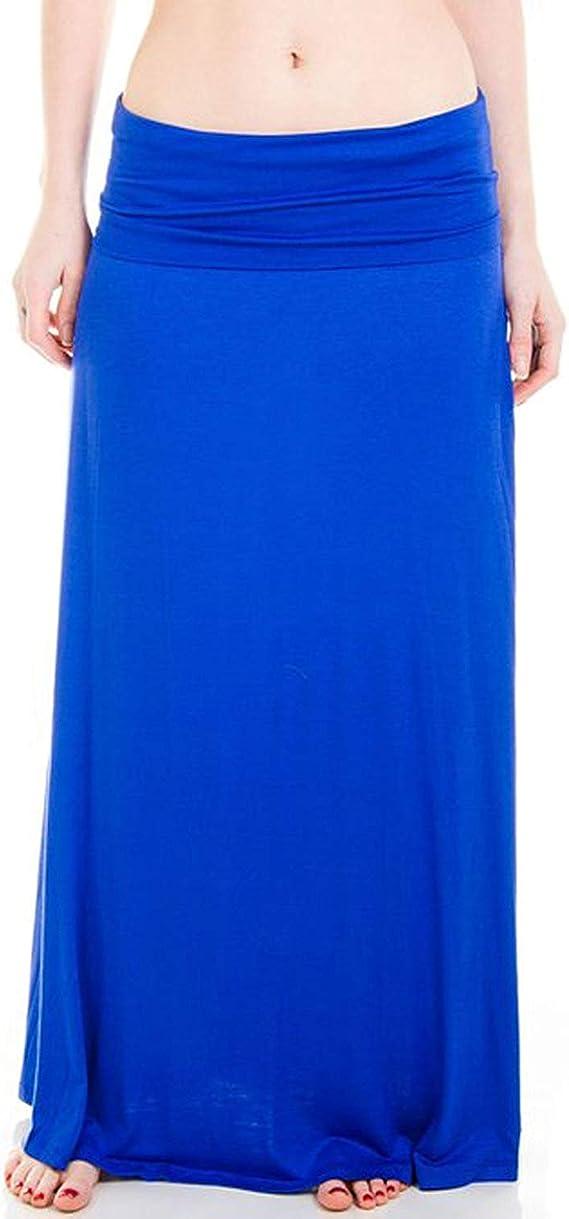 GirlzWalk Women Turn Up Waist Long Plain Jersey Maxi Skirt Plus Size