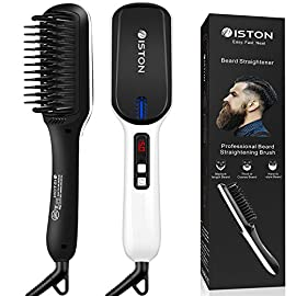 beard straightener for men - 51HjcwRJn1L - Beard Straightener for Men Ionic hair straightening brush Beard/Hair straightener with Anti-Scald Feature Portable Beard Straightener Comb with LED Display For Home & Travel