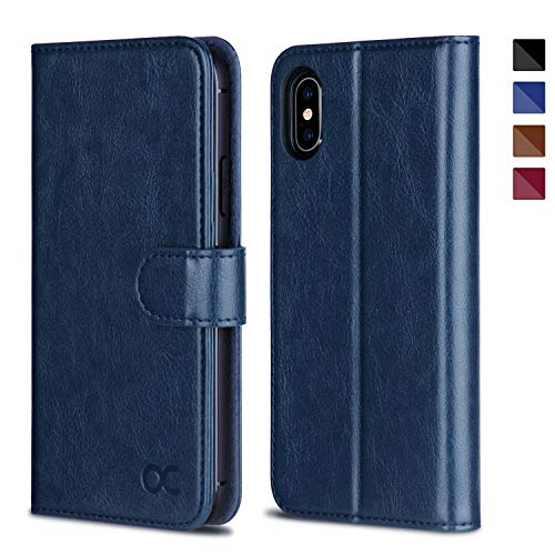 OCASE iPhone Xs Case [ AUTO Sleep/Wake Function ] [ Wireless Charging ] [ Card Slot ] [ Kickstand ] Leather Wallet Flip Case Compatible for iPhone Xs Devices 5.8 Inch (Blue)