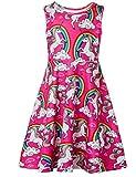 Little Dress Unicorn Rainbow Printed Pattern Sleeveless Sundress for Girls 6-7T